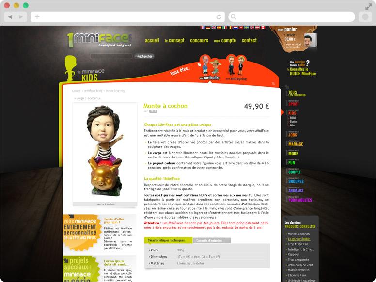 Page Détail produit site 1MiniFace