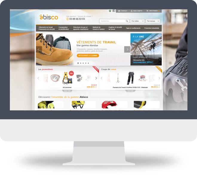 Page d'accueil boutique en ligne Abisco