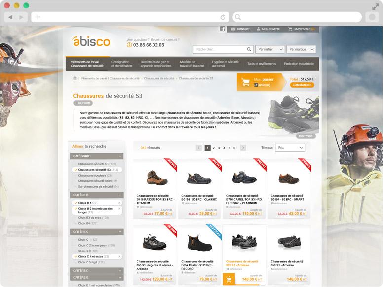 Page Liste de produits boutique en ligne Abisco