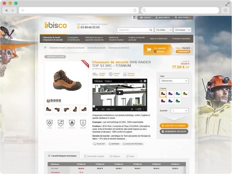Page Détail produit boutique en ligne Abisco