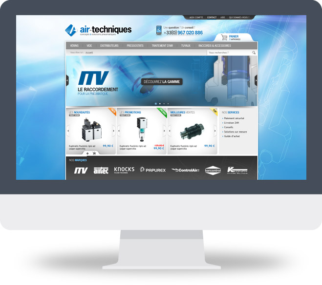 Page d'accueil boutique en ligne Air Techniques