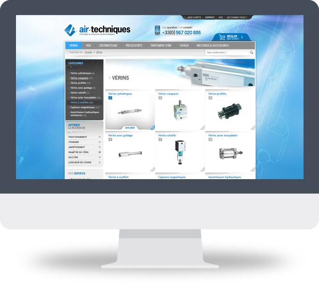 Page Liste produits boutique en ligne Air Techniques