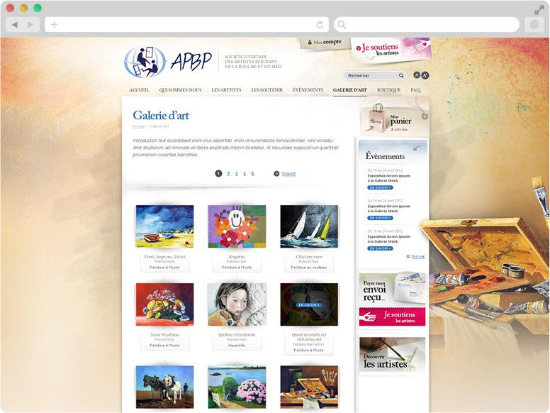 Page galeries d'artistes APBP
