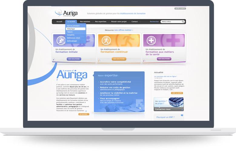 Page d'accueil site Auriga
