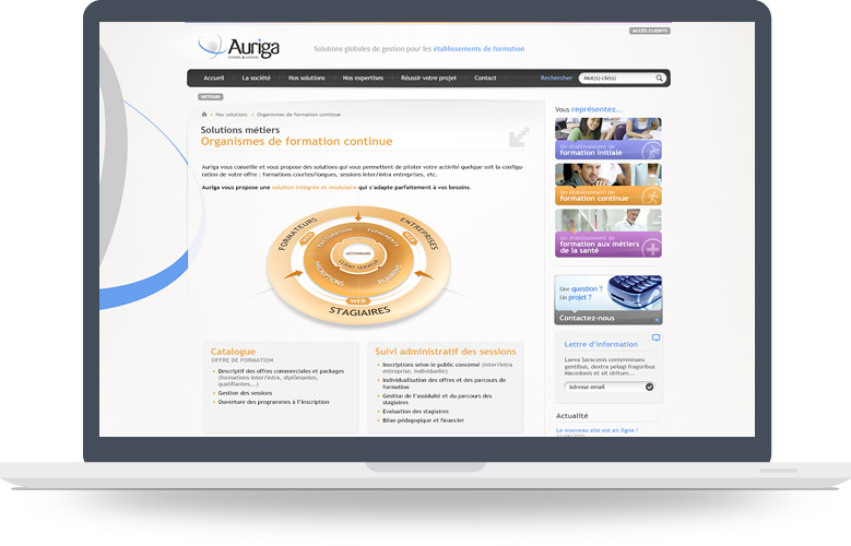 Page Formation continue site Auriga