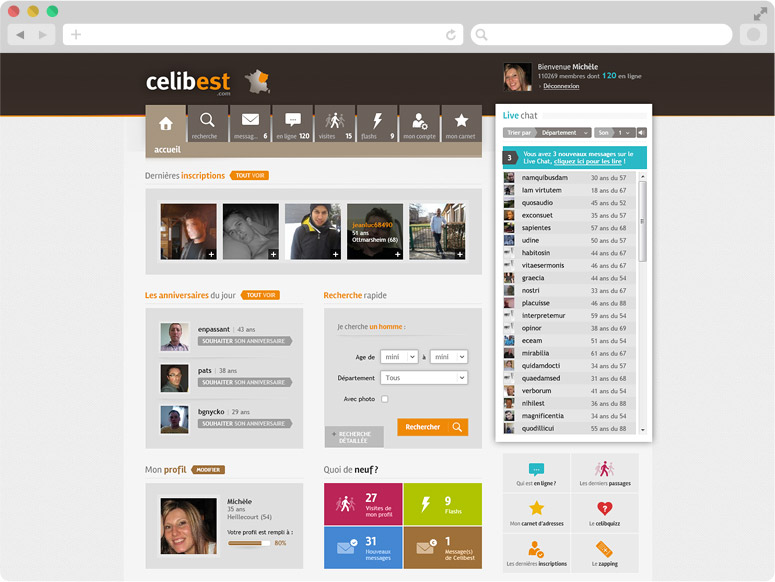 Page d'accueil Celibest