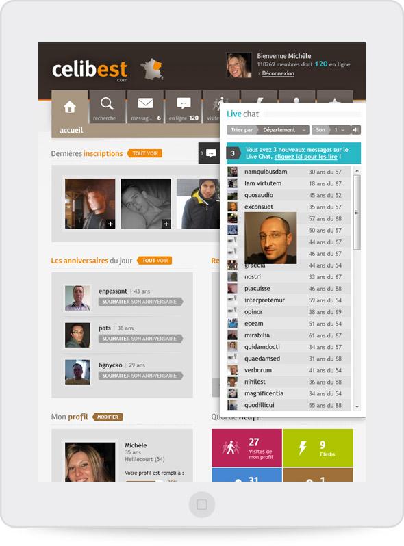 Page d'accueil Celibest (tablette portrait)