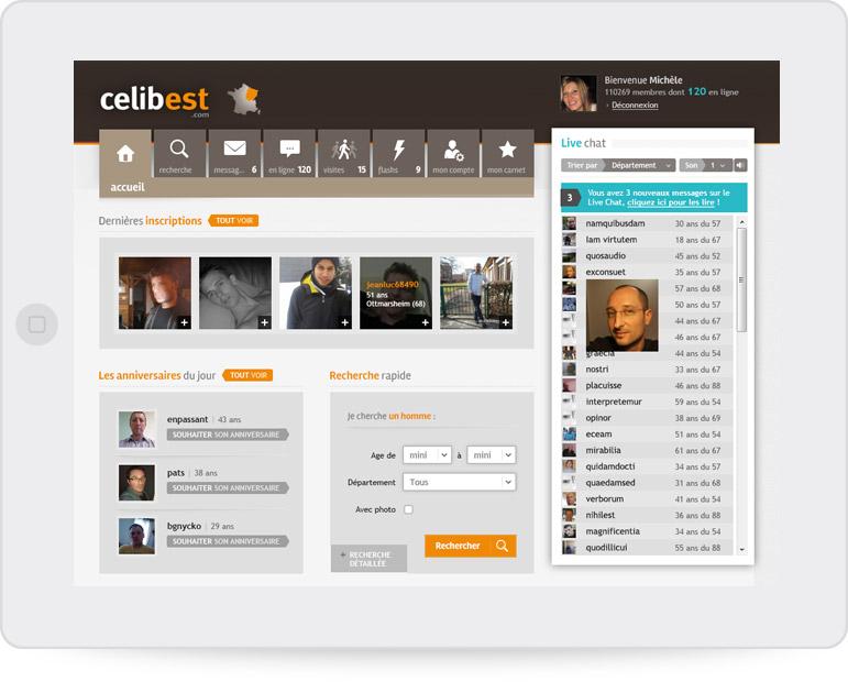 Page d'accueil Celibest (tablette paysage)