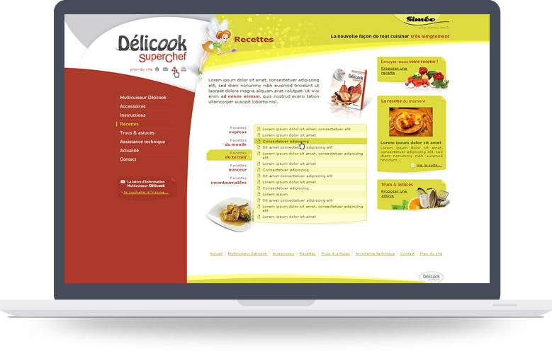 Page liste de recettes site Delicook