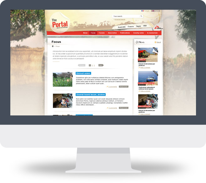 Webdesign page Focus The Portal (MSF)
