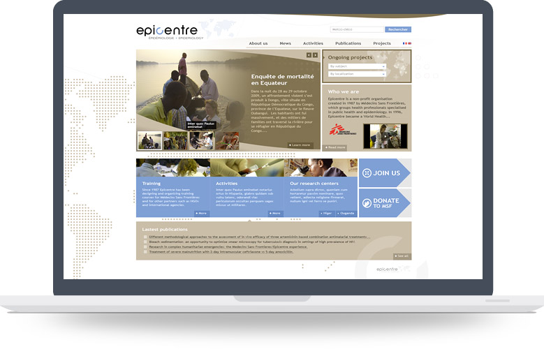 Webdesign page d'accueil Epicentre (MSF)