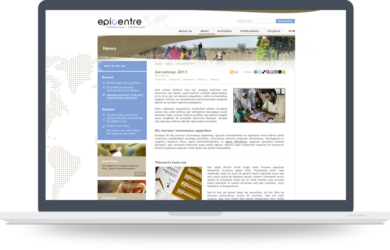 Webdesign page News Epicentre (MSF)