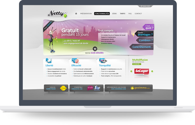 Page d'accueil site Internet Netty
