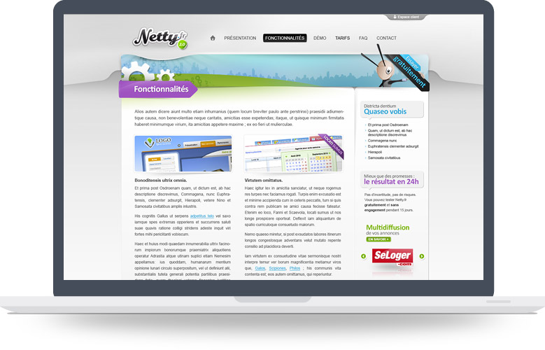Page interne site Internet Netty