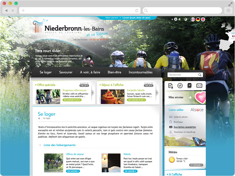 Landing page hébergements site OT Niederbronn
