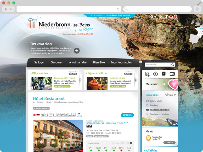Page Détail d'hébergement site OT Niederbronn