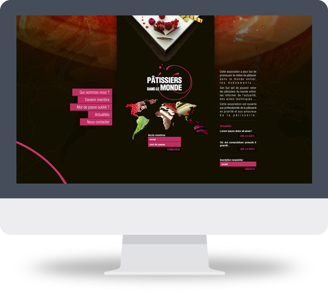 Page d'accueil site Pâtissiers dans le Monde