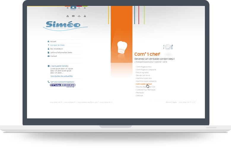 Menu Flash site Simeo