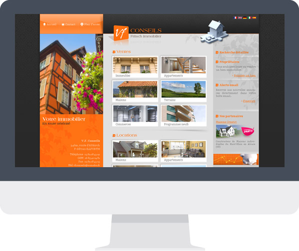 Webdesign page d'accueil VF Conseils