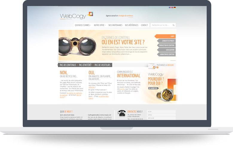 Design web page d'accueil Webcogy