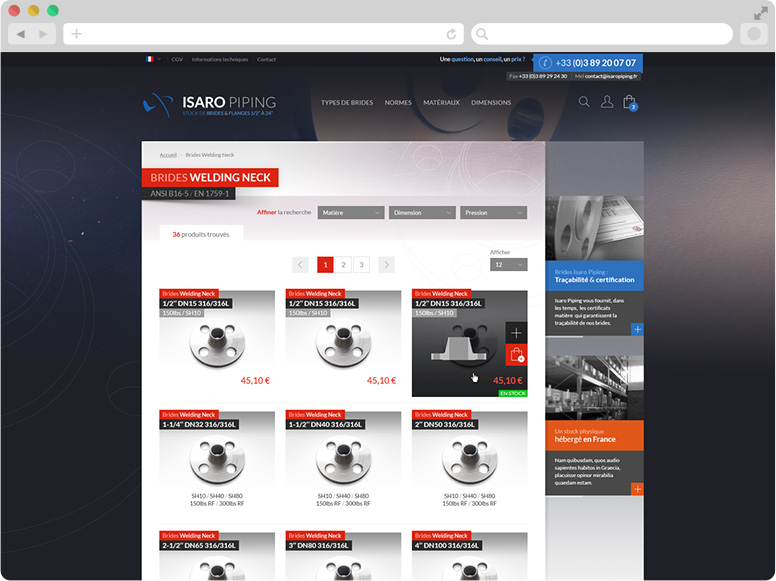 Webdesign page liste Isaro Piping