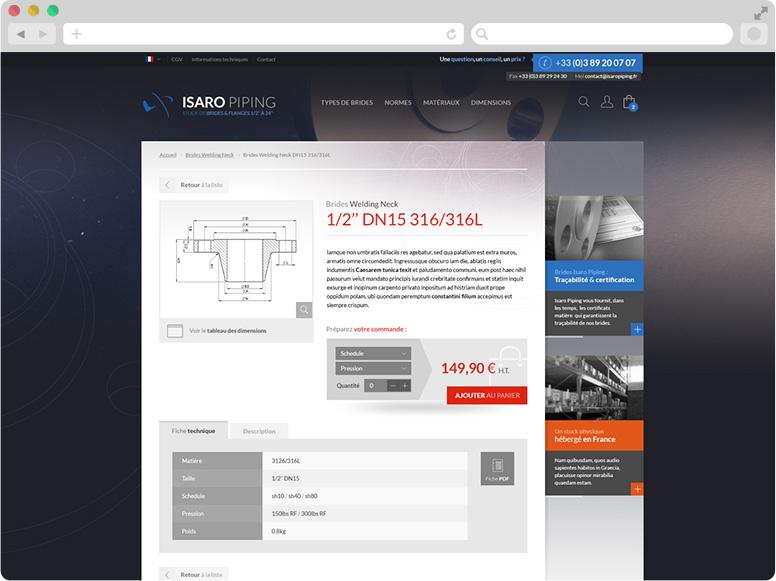 Webdesign fiche détaillée Isaro Piping