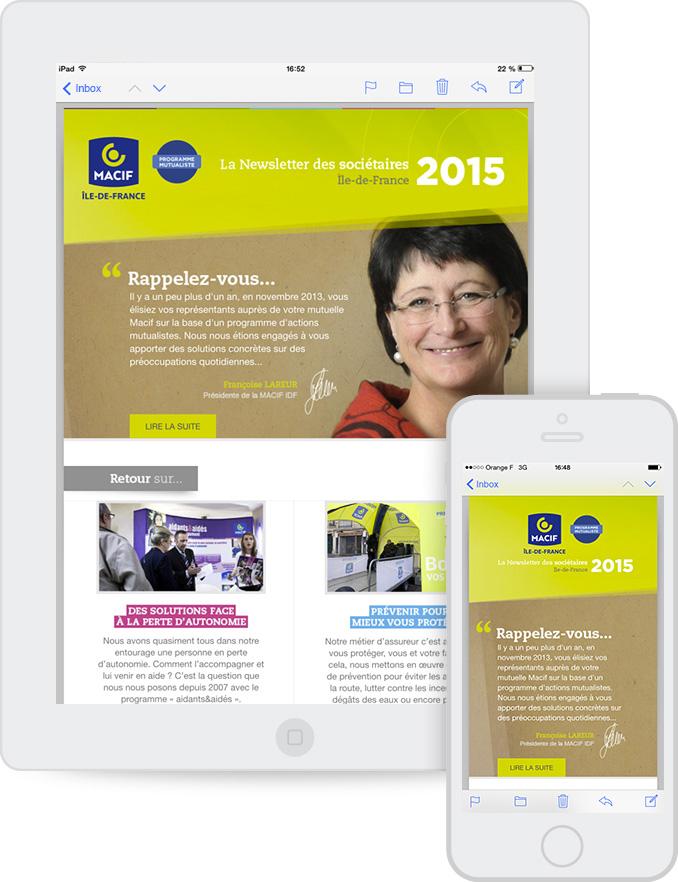 Création newsletter Responsive MACIF Île-de-France