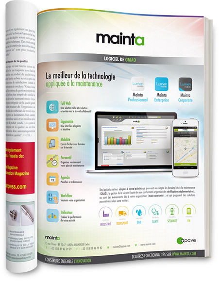 Conception graphique de l'encart pub A4 Mainta 2015